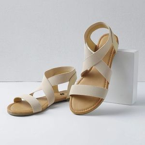 Shoes - Beige Wide Ankle Elastic Strap Sandals